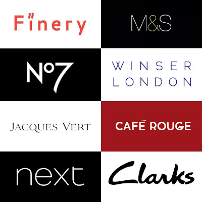 Brand logos from those brands that have collaborated with What Lizzy Loves