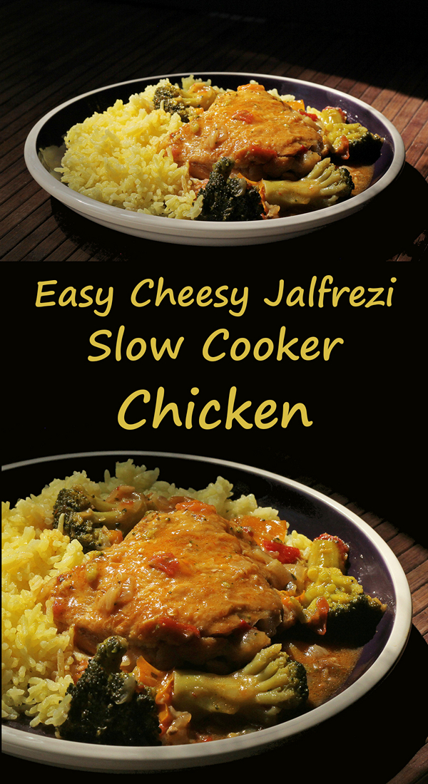 Easy cheesy jalfrezi slow cooker chicken