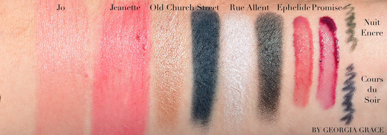 NARS x Charlotte Gainsbourg swatches review Jo Jeanette Old Church Street Rue Allent Ephelide Promise Cours du Soir Nuit Encre