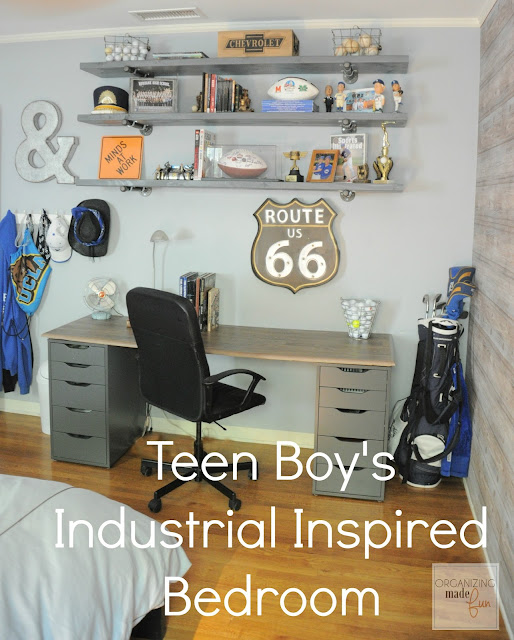 Teen Boy's Room Industrial Shelving :: OrganizingMadeFun.com