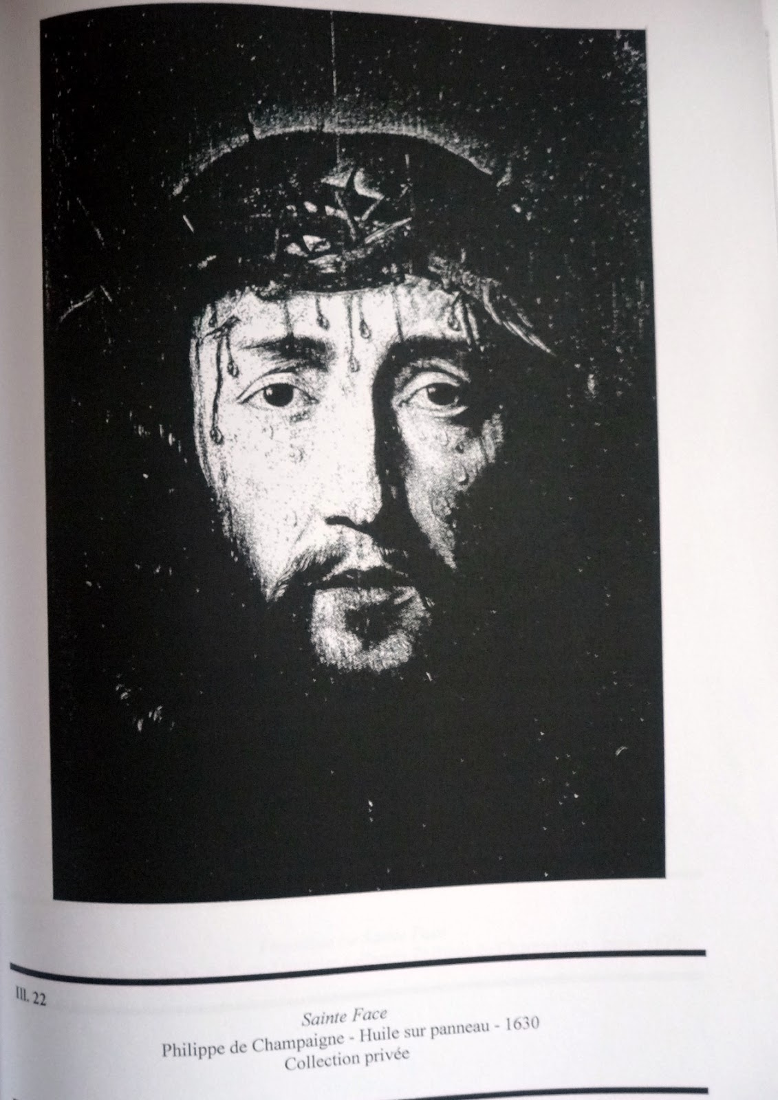 La Face du Christ de Philippe de Champaigne est totalement représentée de  face et il n y a pas de linge intermédiaire entre la Face et le fond noir. e124b66d652