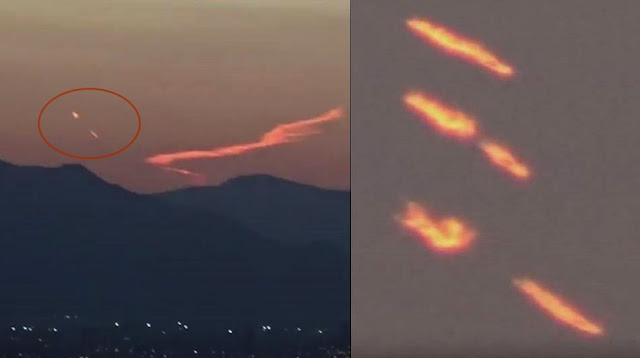UFO News ~ Flaming object streaking across the sky releases pod over Santiago, Chile? plus MORE Flaming%2BUFO%2Bescape%2Bpod%2BChile