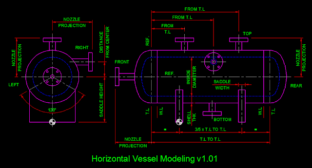 PDMS Model Macro Horizontal Vessel Parameter