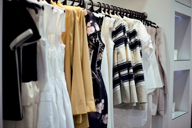 rack of clothes at Ellery designer sample sale