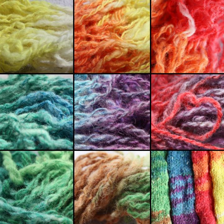 selbstgesponnene Wolle, gefärbt mit Ostereierfarben