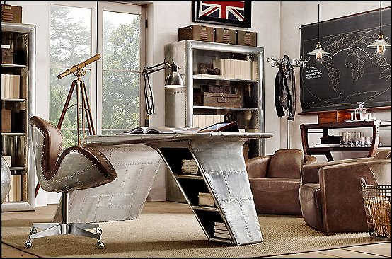 Decorating theme bedrooms maries manor industrial style for Aviation decoration ideas