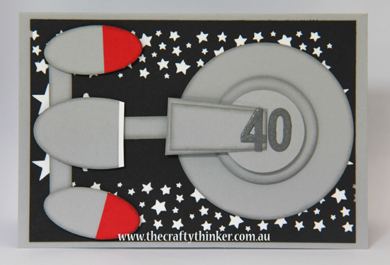 SU, Star Trek card, The Enterprise card, Masculine card, punch art