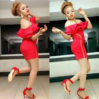 Bobrisky flaunts curves in red