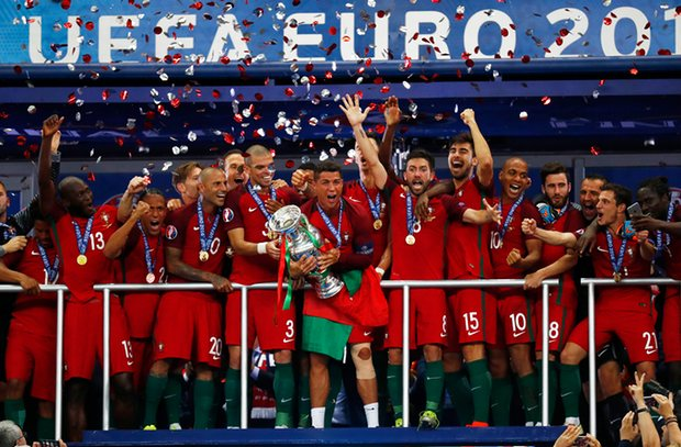 Portugal Euro 2016 Celebration Podium Champion