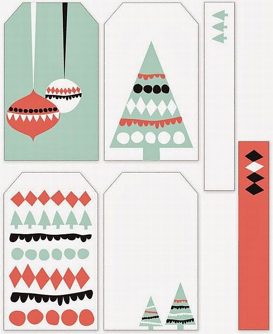 lovely mint and coral printable Christmas gift tags for free