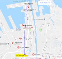 Peta lokasi Titik Jemput Penumpang Ojek Online Gojek-Grab di Pelabuhan Tanjung Perak Surabaya