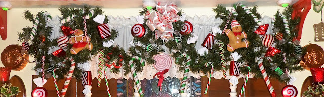 i decorated the garland using different kinds of candy ornaments