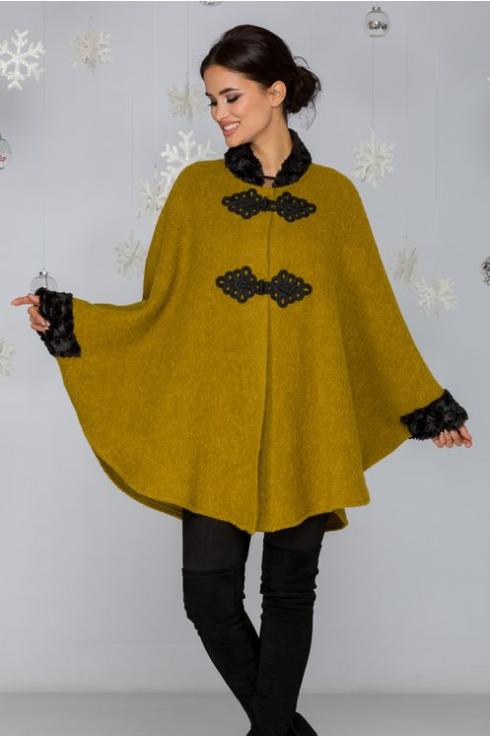 Capa femei de iarna galben mustar cu guler din blanita reducere