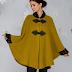 Capa femei de iarna din lana galben mustar cu guler din blanita reducere