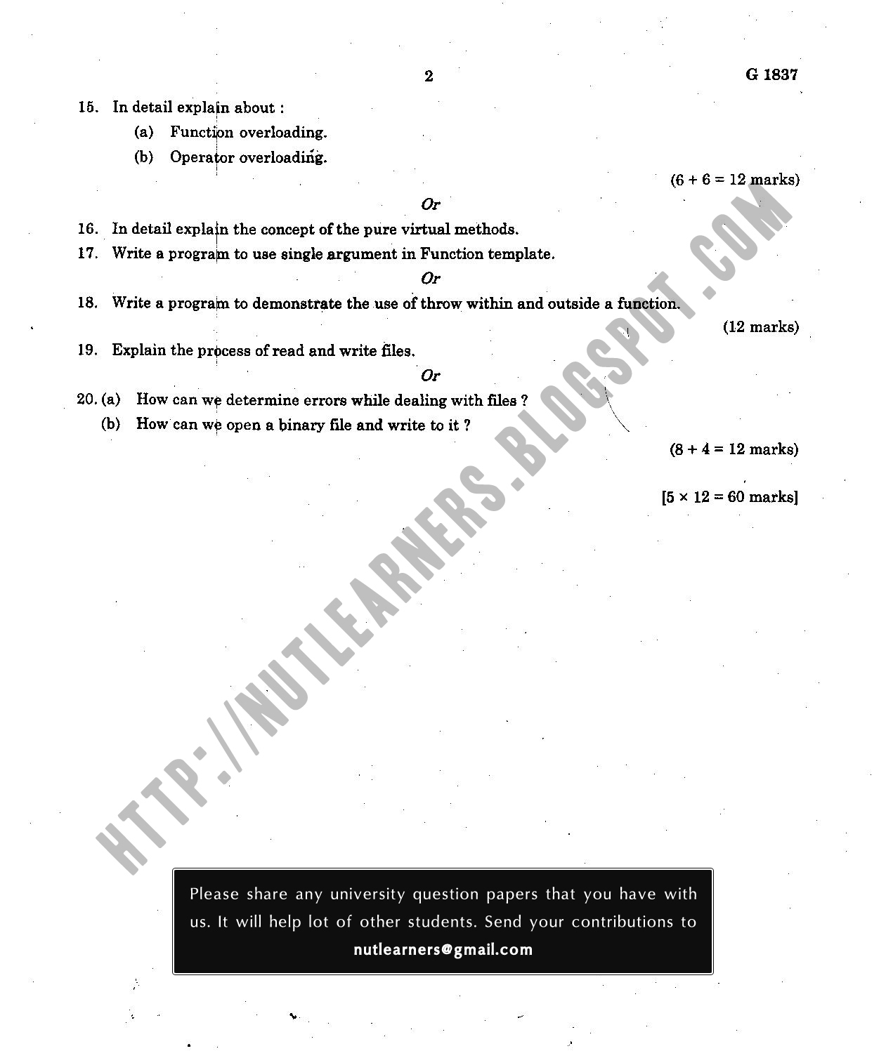 Object Oriented Programming - MG University Question Paper