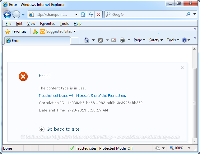 the content type is in use sharepoint