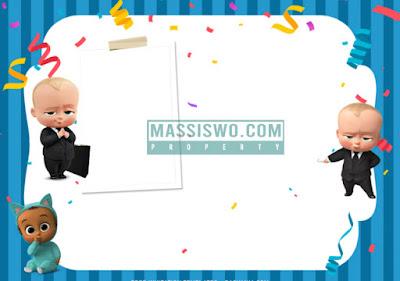 undangan ultah dengan background baby bos