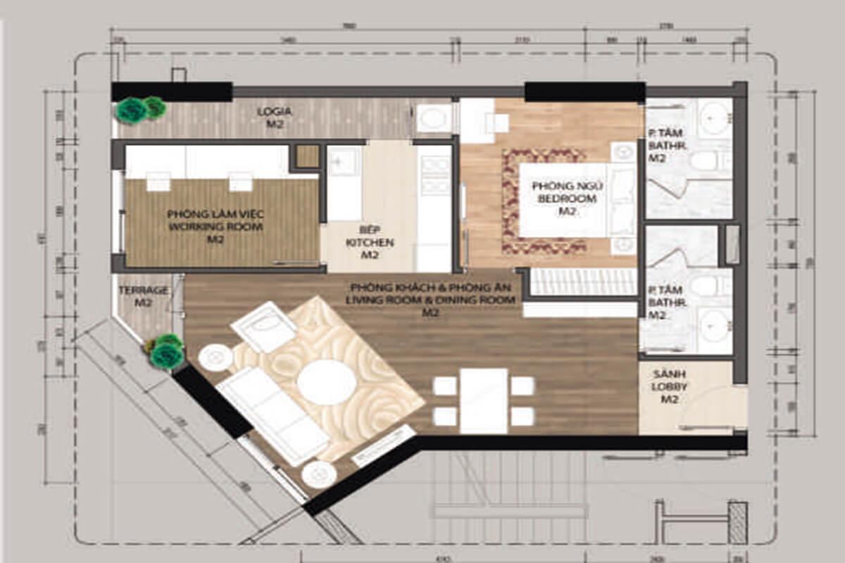 Mặt bằng căn hộ A4.1-1 phòng ngủ – 72.1m2
