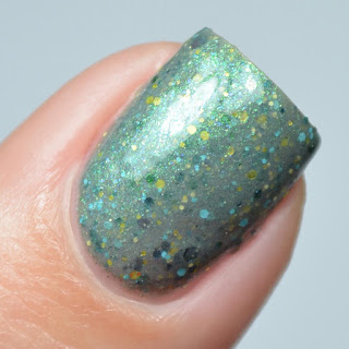 gray nail polish with glitter