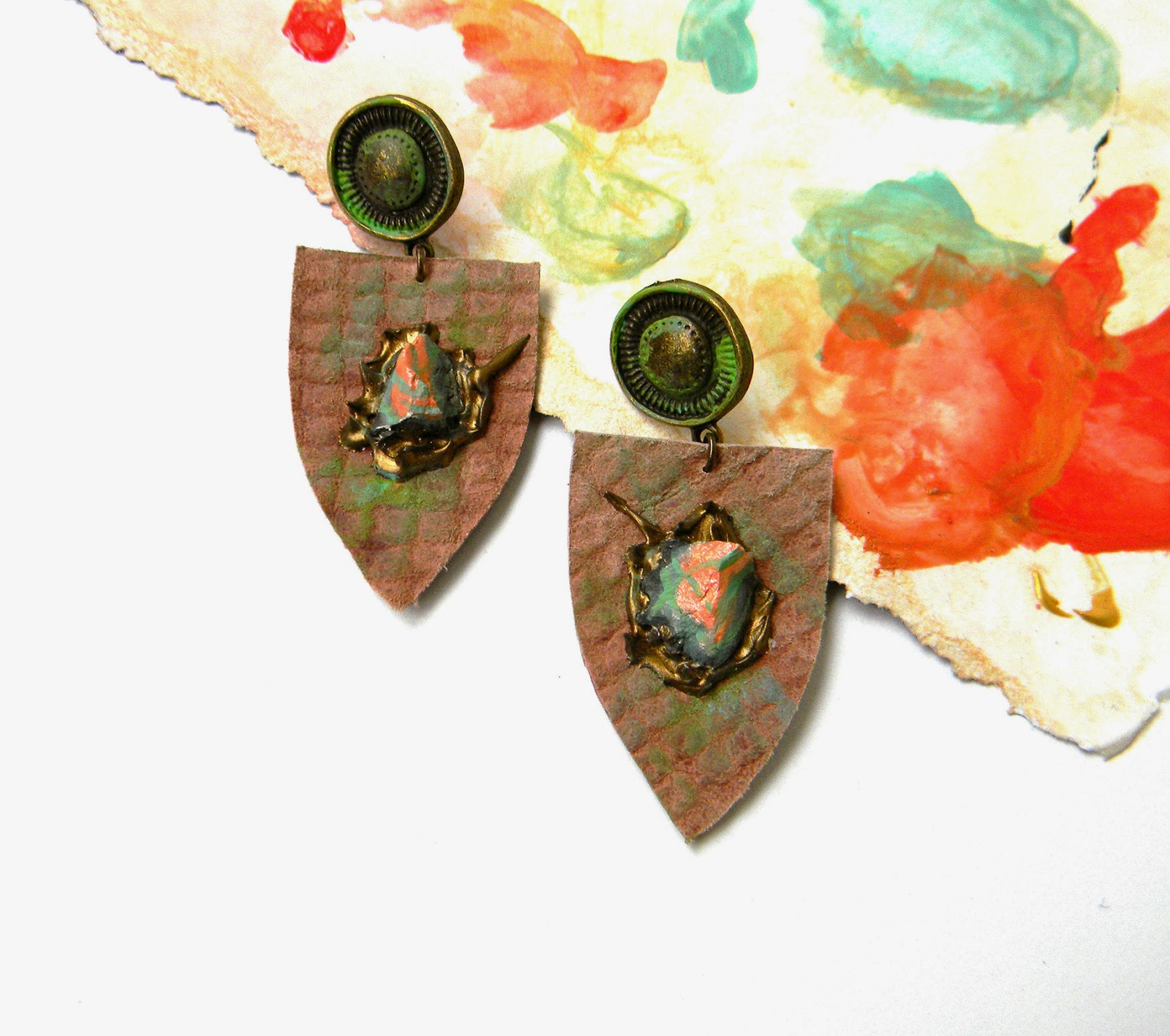 Abstract Leather Earrings with Hand Painted Clay Shapes