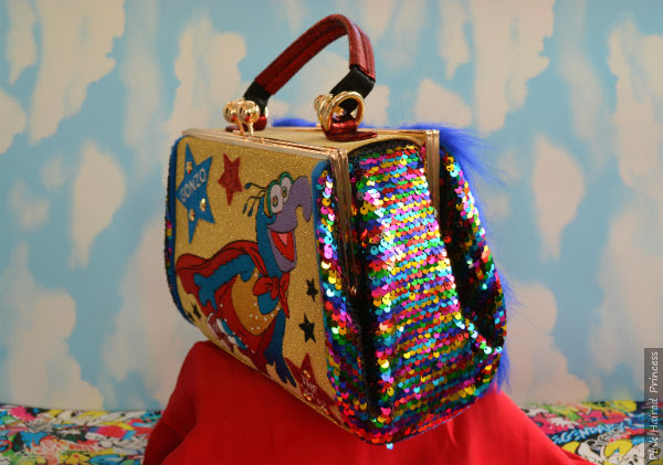 side view of sequins Irregular Choice Muppets Daredevil bag