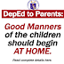 DepEd to Parents: Help the Schools in Teaching Good Manners