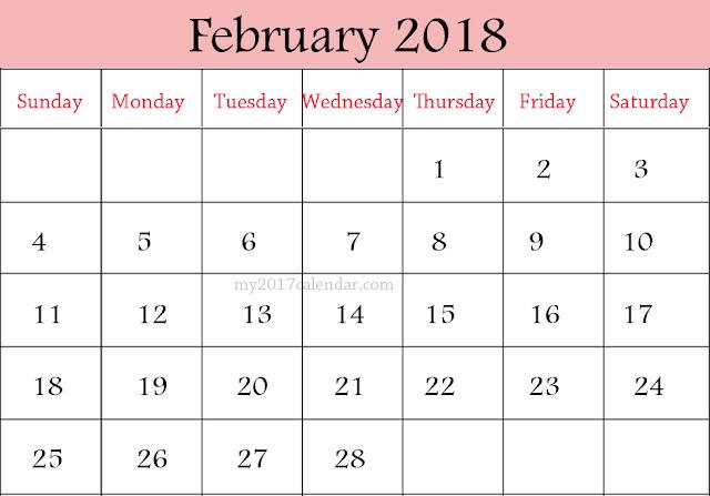 February 2018 Calendar, February 2018 Printable Calendar, February 2018 Calendar Printable, February 2018 Calendar Template, Free February Calendar 2018