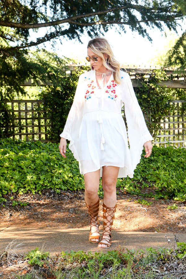 white embroidered summer dress
