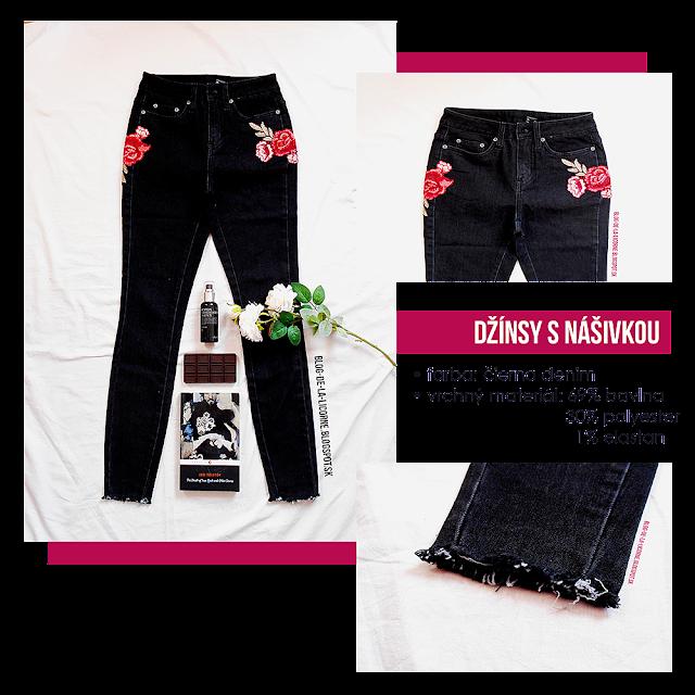 Čierne džínsy s nášivkou Bonprix