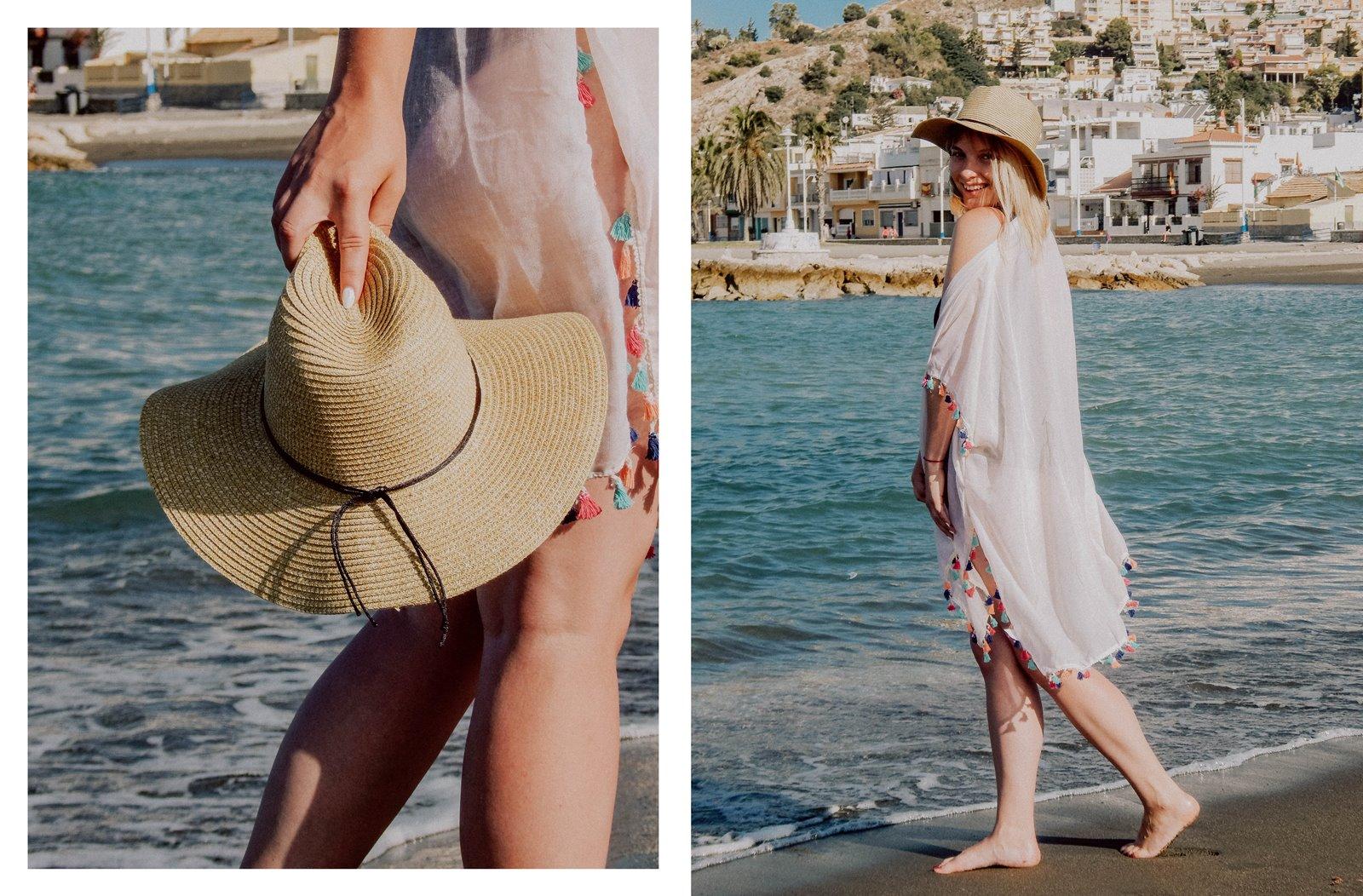 5A szaleo wakacje w maladze malaga jak spędzić wakacje co zobaczyć stylizacja na plaże pareo składany kapelusz słomkowy modne dodatki na wakacje na plażę z frędzlami z pomponami hiszpania polski kraj język ceny outfit