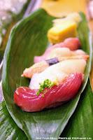 Bonito Fish, Pink Shrimp, Ika, Snow Crab, Scallops, Yellow Tail at Yamazaki in Tokyo, Japan