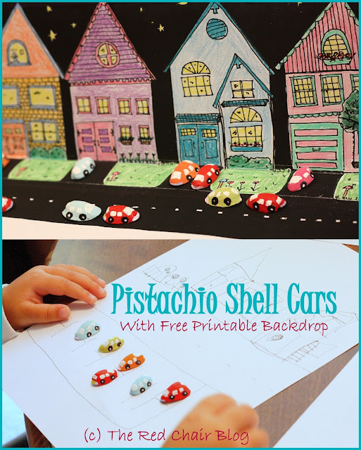 Kid toy car craft using painted pistachio shells at The Red Chair Blog