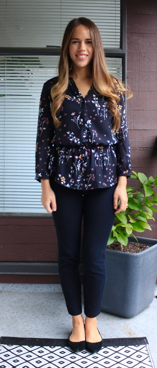 Jules in Flats - Black Floral Peplum Blouse