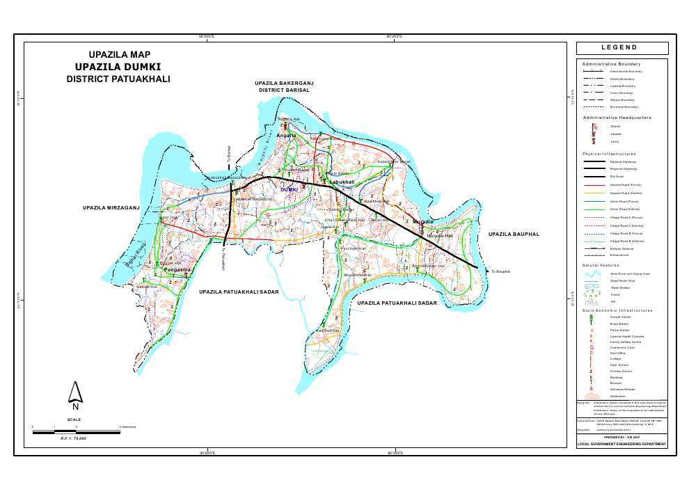 Dumki Upazila Map Patuakhali  District Bangladesh