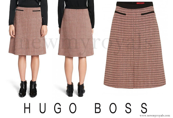 Crown Princess Mary wore Hugo Boss Rinelle Cotton A-Line Skirt