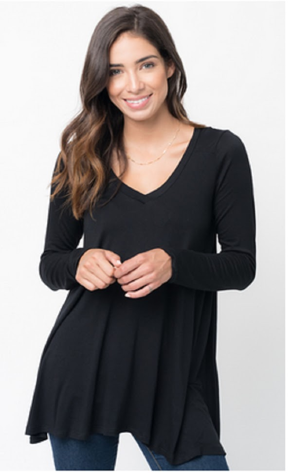 long sleeve vneck top
