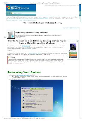 Startup Repair Infinite Windows 7 Help Forums Download eBook