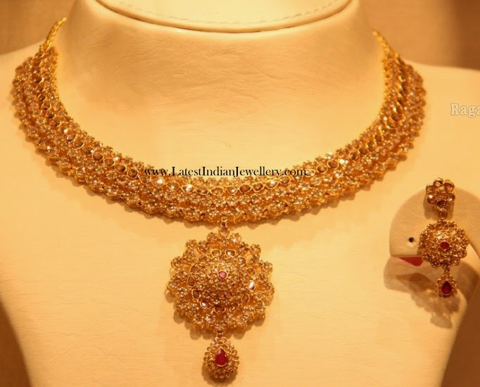 Uncut Diamond Necklace Earrings Set