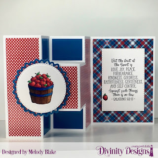 Divinity Designs Stamp Set: Fruit of the Spirit, Custom Dies:  Double Stitched Circles, Double Stitched Rectangles, Filigree Circles, Half-Shutter Card with Layers, Paper Collection: Old Glory