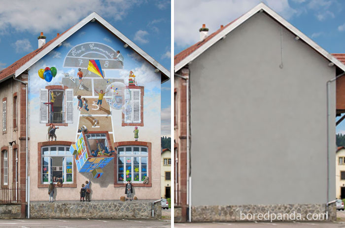 10+ Incredible Before & After Street Art Transformations That'll Make You Say Wow - Vive La Récré, Fraize, France