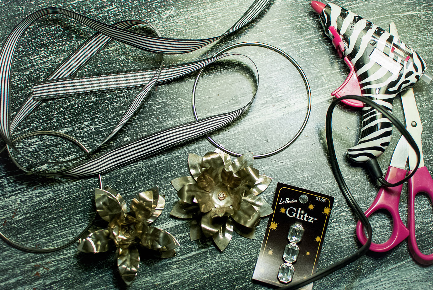 Supplies needed to make a Vintage Style Metal Wreath