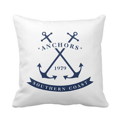 Blue and White Nautical Pillow with Anchor Badge