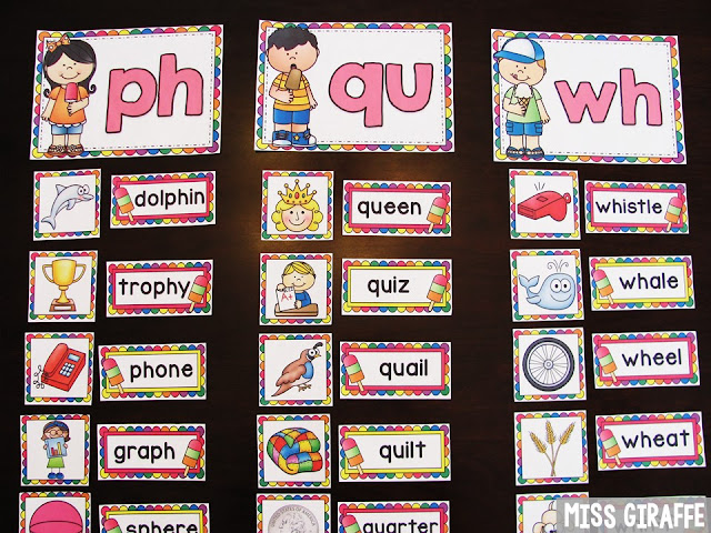 Digraph word sort centers and so many great digraphs reading centers for kindergarten and first grade