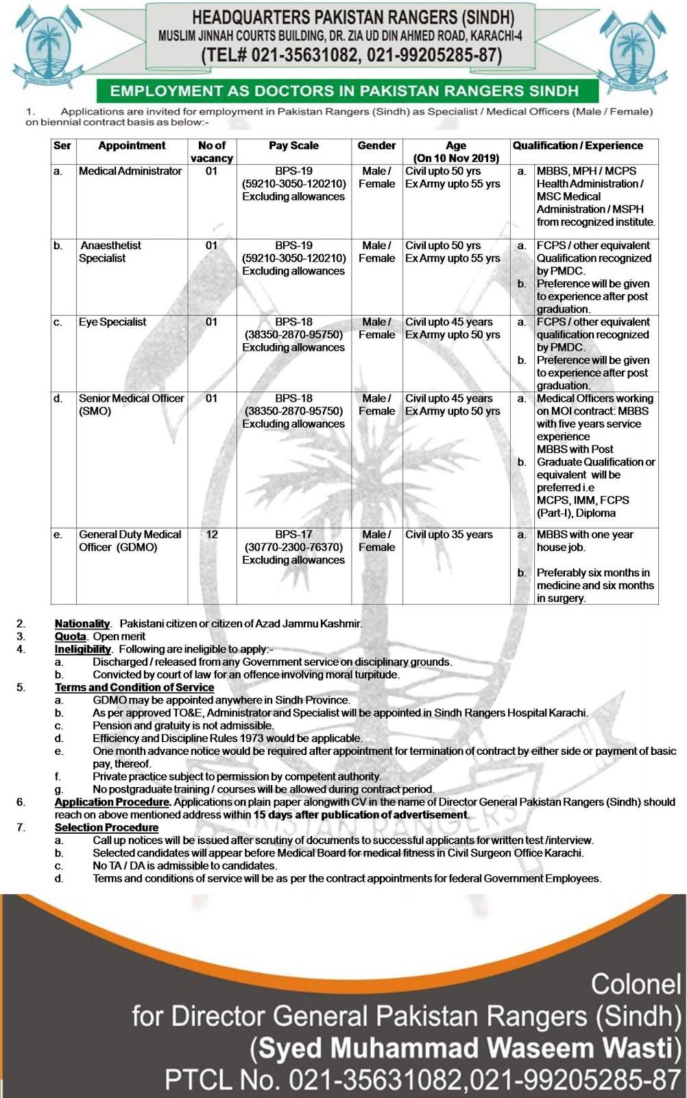 Sindh Rangers Jobs 2020