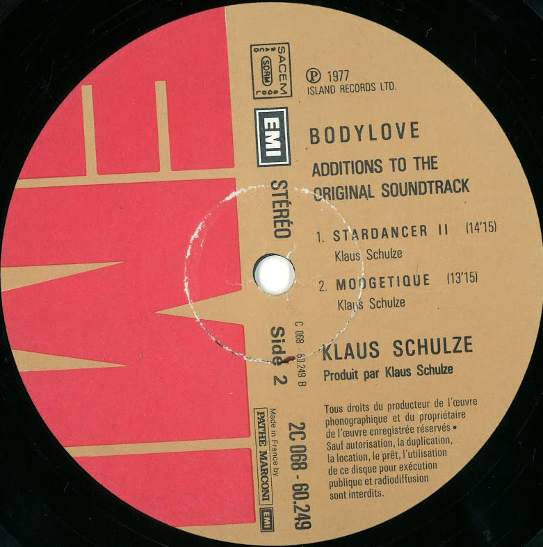 BODY LOVE - Klaus Schulze Tracklist Stardancer 1318 Blanche 1144 - cd label
