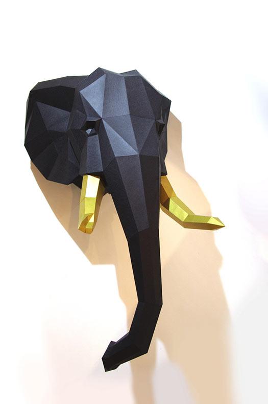 Esculturas geométricas de papel de animales de Wolfram Kampffmeyer