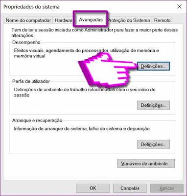 Propriedades Avançadas do Sistema Windows
