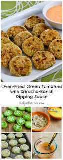 Oven-Fried Green Tomatoes with Sriracha-Ranch Dipping Sauce [from KalynsKitchen.com]