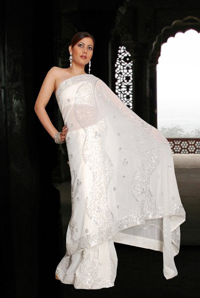 Garden White Saree Collection For Party Eid And