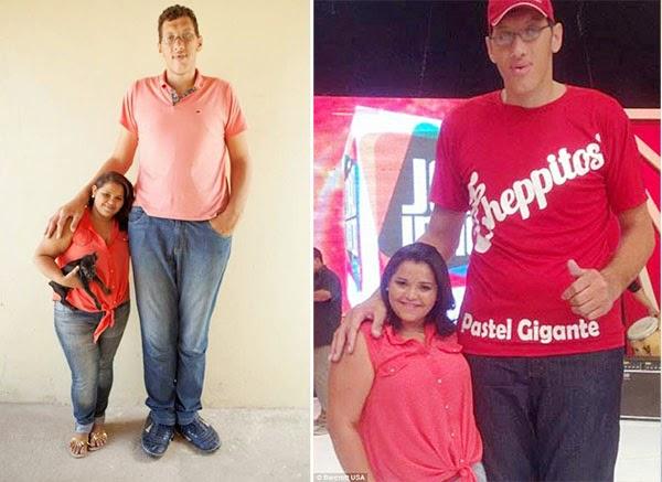 برازيلي طوله مترين يتزوج فتاة بنصف حجمه